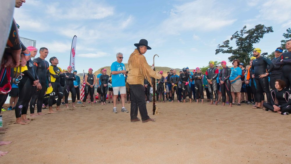 Pre-swim briefing and opening ceremony.