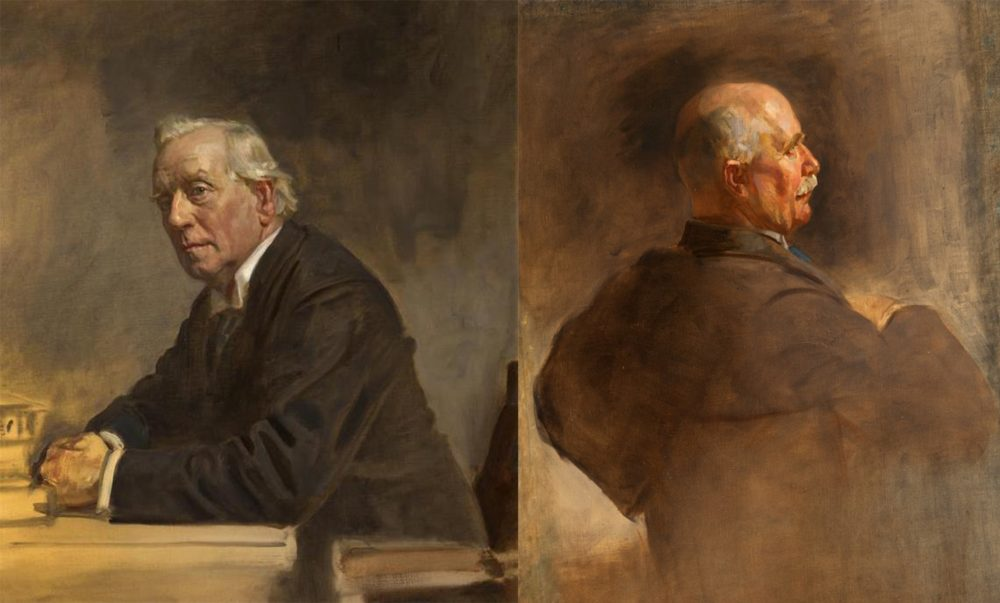 (Left)  Henry Herbert Asquith, 1st Earl of Oxford and Asquith , (Right)  William Ferguson Massey . (National Portrait Gallery Scotland) Sir James Guthrie Artist.