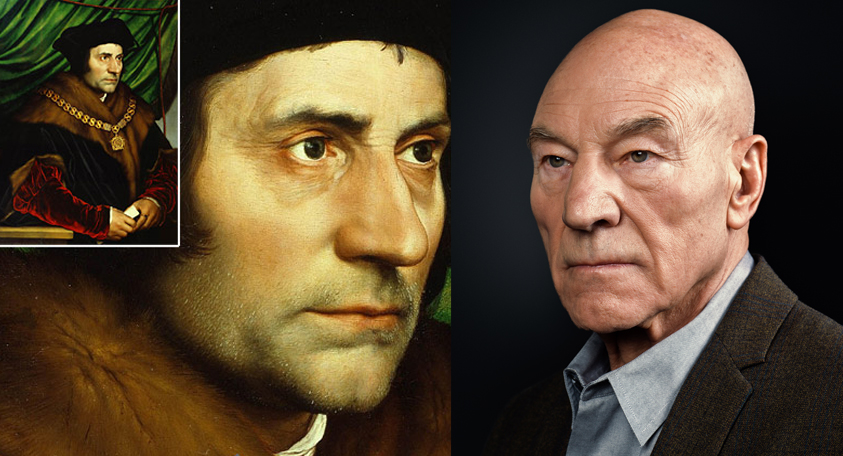 (Left) Holbein's Portrait of Sir Thomas More, 1527 (Right) Rory Lewis Portrait Sir Patrick Stewart 2014