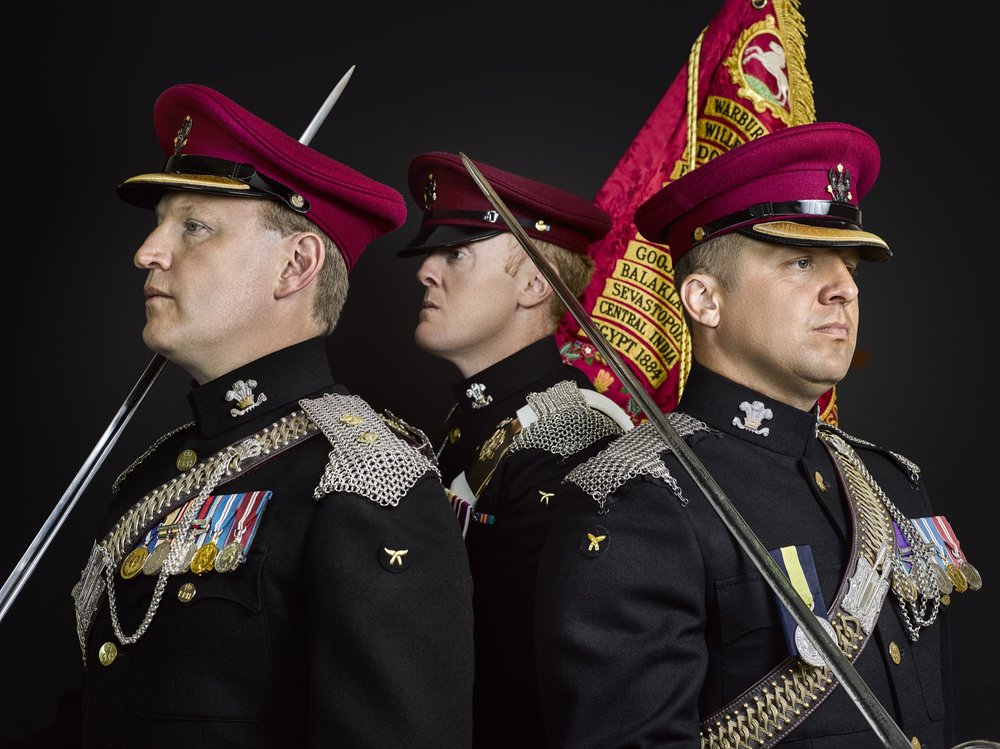 Lieutenant Colonel Porter Commanding Officer Warrant Officer Class 2 Regimental Quarter Master Sergeant Major Baines Warrant Officer 1 Regimental Sergeant Major Ashton The King's Royal Hussars.jpg