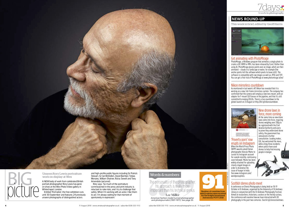 Amateur Photographer Magazine Portraitist 2018 Rory Lewis London Portrait Photographer