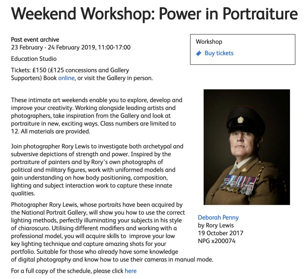 Weekend Workshop: Power in Portraiture (Rory Lewis)