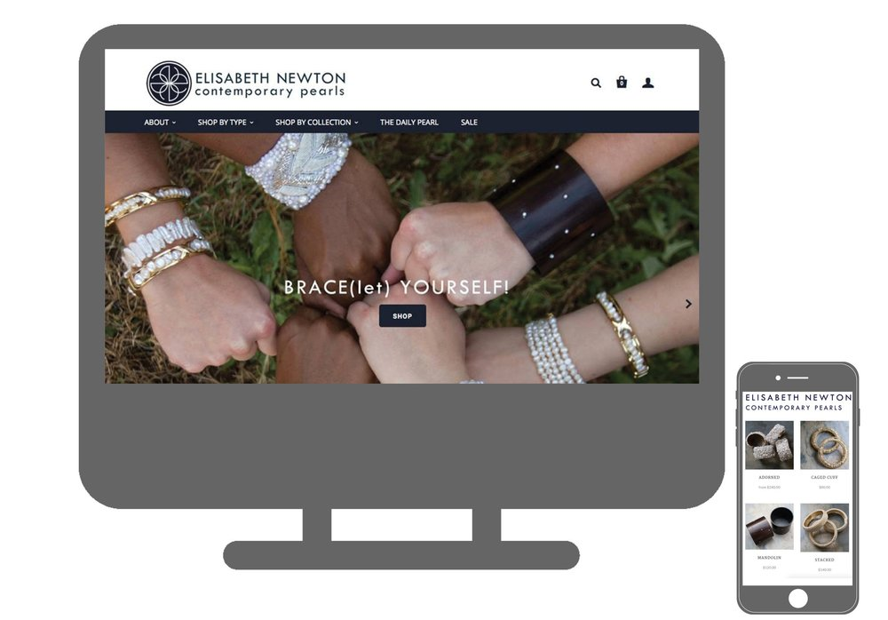 Website - I customized a Shopify template with coding (HTML) and an integrated WordPress blog. I styled, directed and photographed all Elisabeth Newton Contemporary Pearl's images. I optimized SEO and Google Analytics for the website.Visit an archived version of the website