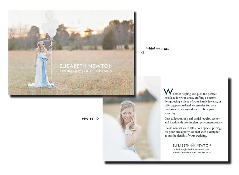 "Postcards - I modified Elisabeth Newton Contemporary Pearls' branding for the bridal market by inverting its logo colors - shifting from navy to white - and adding pale blue elements to reference the bridal theme of ""something blue""."