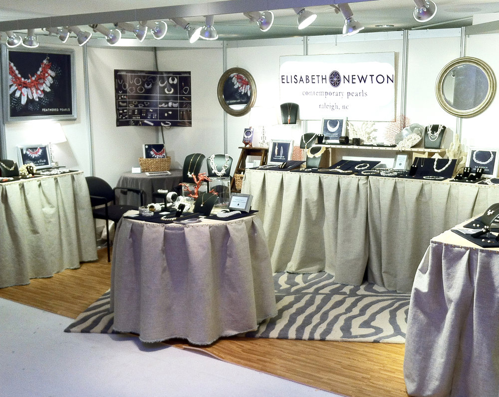 Tradeshow Booths - Elisabeth Newton Contemporary Pearls attended over 18 trade, wholesale and museum shows. In addition to designing the layout and overall aesthetic of the booth, I constructed foldable tables, packable signage and various display elements. My booths won several Best Booth awards.