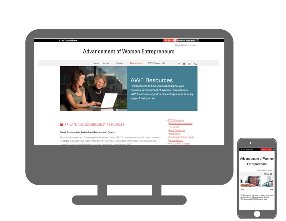Website - Working on a team from Oak City Marketing, I researched content and wrote copy for the Advancement of Women Entrepreneurs (AWE)'s Resource, Press Packet and Events website pages.Visit the website