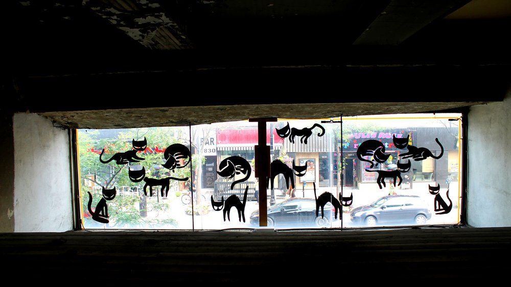Cats Variation   mural on glass facade for BBP Centre D Art, Montreal. 2014