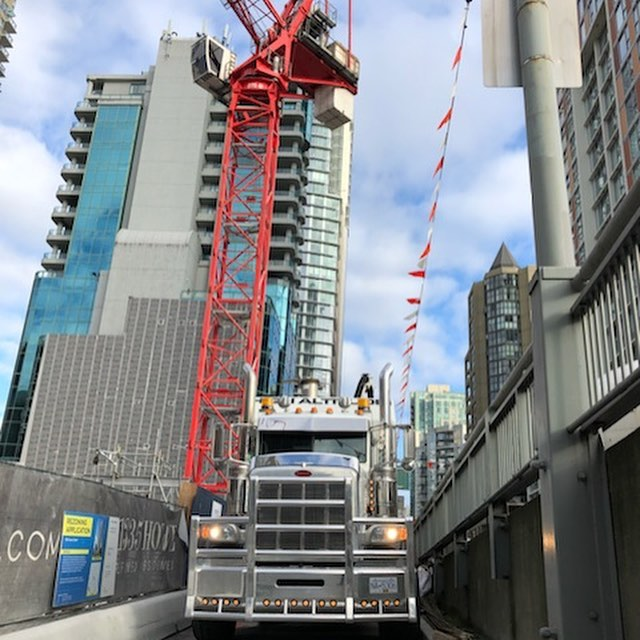 Feeling pretty small amongst all these buildings.  #hydrovac#undergroundutilities #peterbilt#workingconstruction#herdbumper #herdbumpers #vancouver