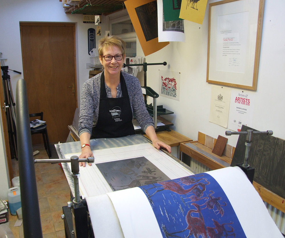 for web Flamingoes etching revealed on the press LindaNevill's studio.jpg