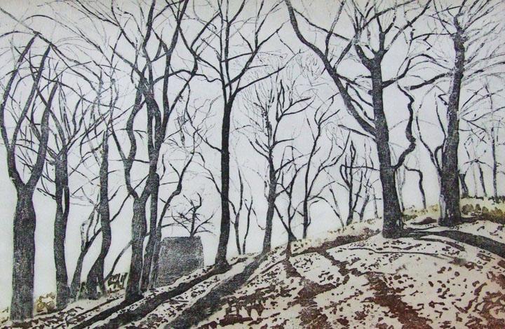 On the ridge -  landscape - etching & aquatint Linda Nevill.jpg