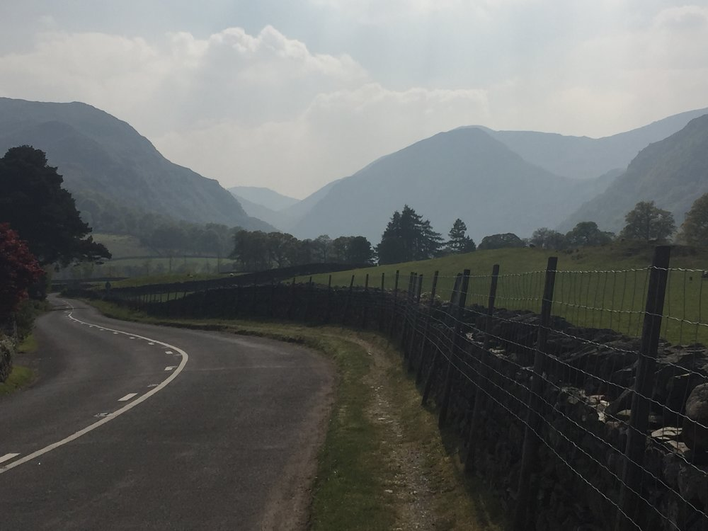 Bus heading into Borrowdale and over pass to Buttermere for lunch, at a pub.