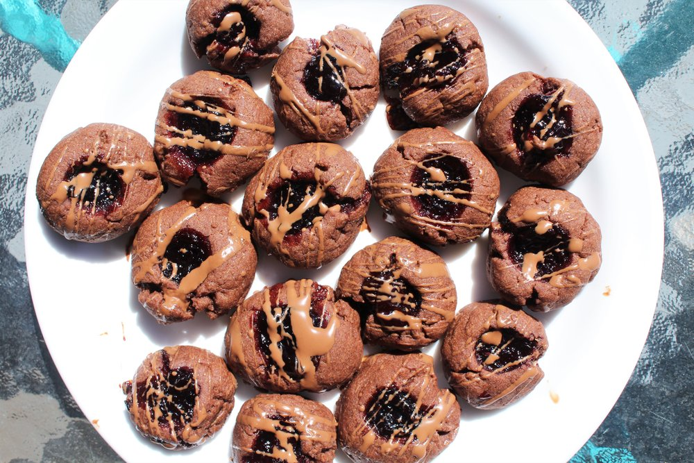 SBF, Somerville, MA, @ sbfbakes   Cherry Chocolate Thumbprints. Click  here for recipe .