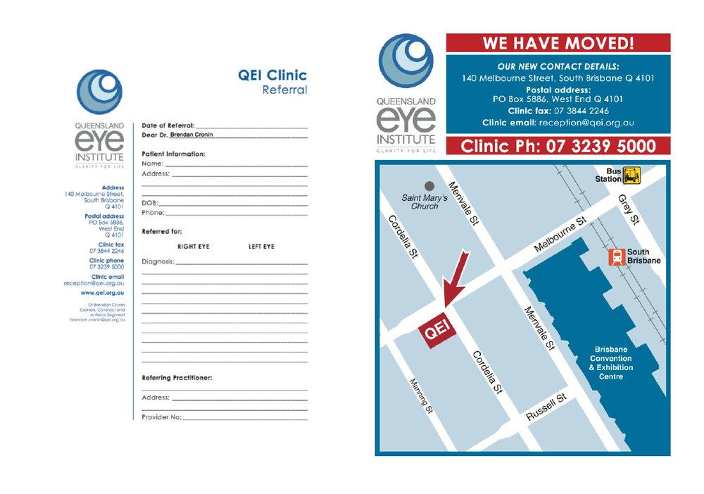 Dr Brendan Cronin Referral Pad for Queensland Eye Institute.