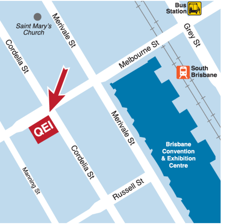 Map of Queensland Eye Institute Brisbane Location.