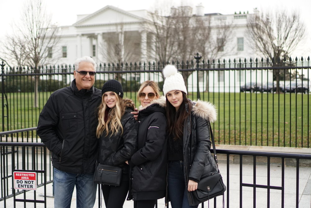 Julia Friedman and her family in front of the White House in Washington DC.