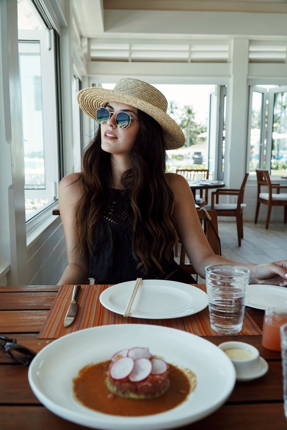 Julia Friedman enjoying lunch with a view at Dune at the One&Only Ocean Club in the Bahamas.