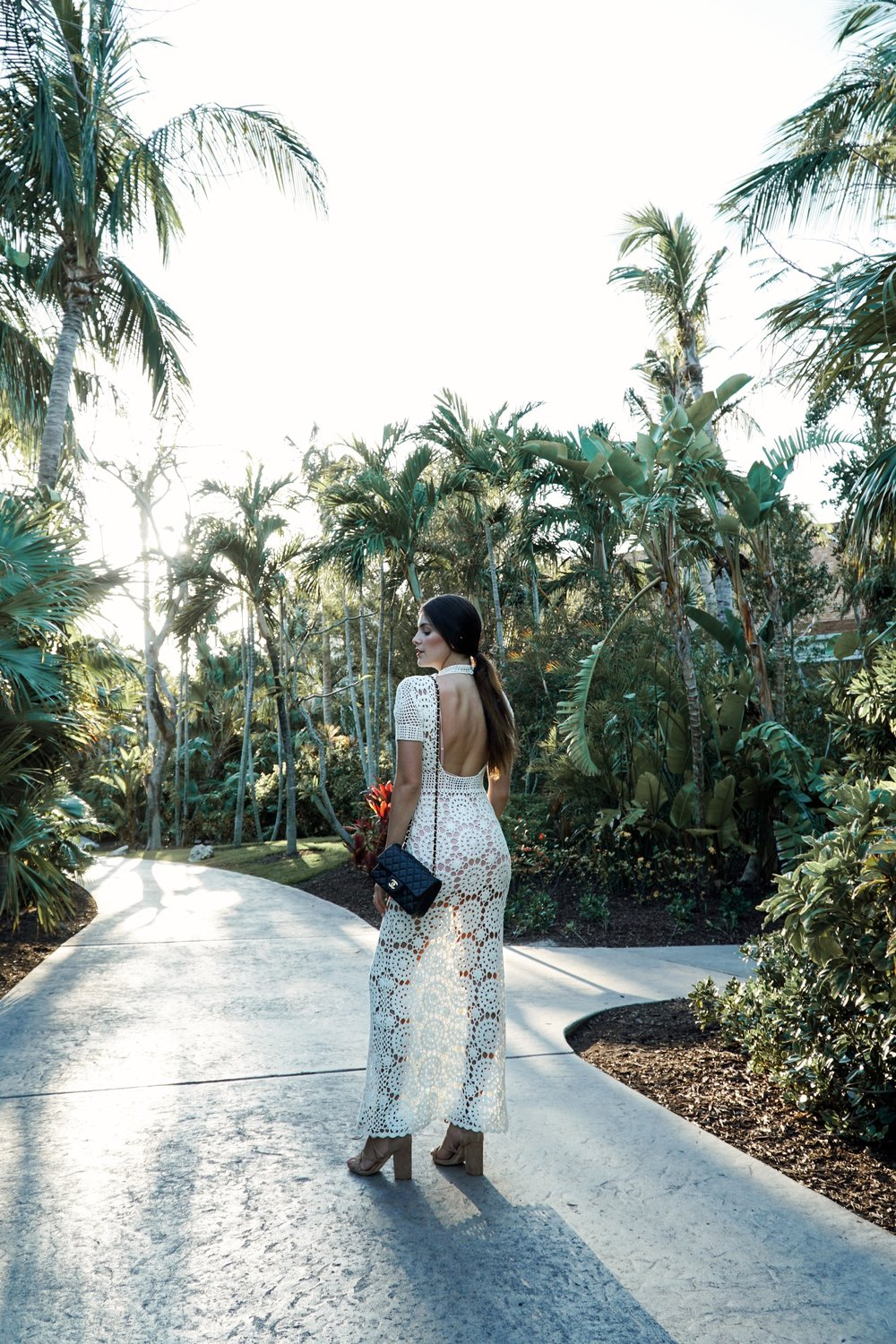 Julia Friedman wears the Majorelle Therese Dress paired with Raye Lulu heels from Revolve Clothing during her trip to the One&Only Ocean Club in the Bahamas.