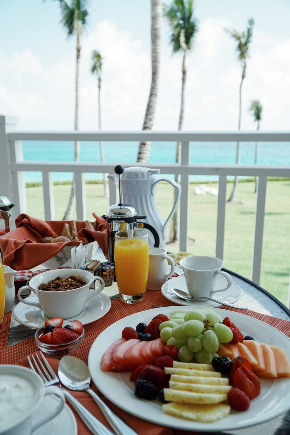 Julia Friedman enjoys a healthy breakfast with an ocean view at the One&Only Ocean Club in the Bahamas.