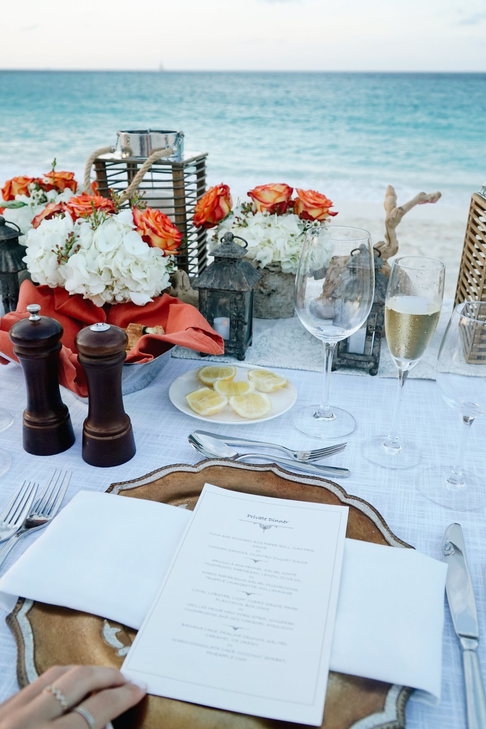 A dream dinner at the beach at the One&Only Ocean Club in the Bahamas taken by Julia Friedman.