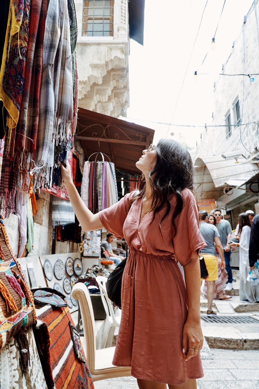 Julia Friedman wearing a Rails LA dress in Jerusalem, Israel.