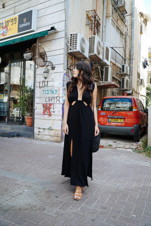 Julia Friedman wearing an ASTR the Label Dress in the streets of Tel Aviv, Israel Diary