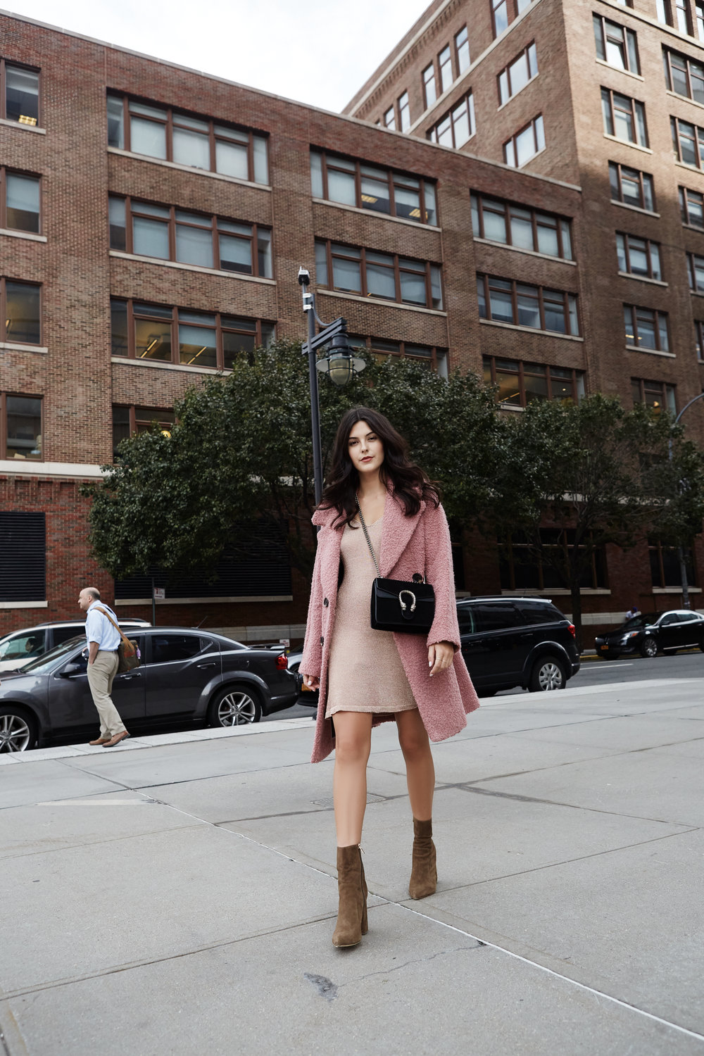 NYFW Recap #2 Julia Friedman, wearing topshop pink fuzzy oversized coat, metallic dress, Raye the Label boots, and a Gucci Dionysus in black suede.