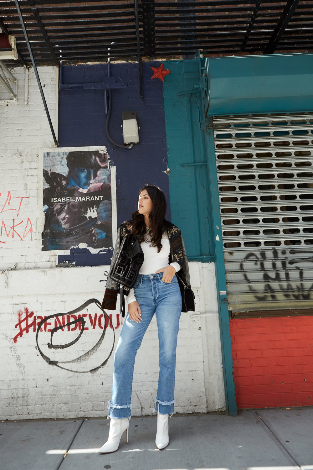 NYFW Recap #1: Julia friedman NYFW street style 3x1 jeans, ronny kobo top for intermix, steve madden white booties.