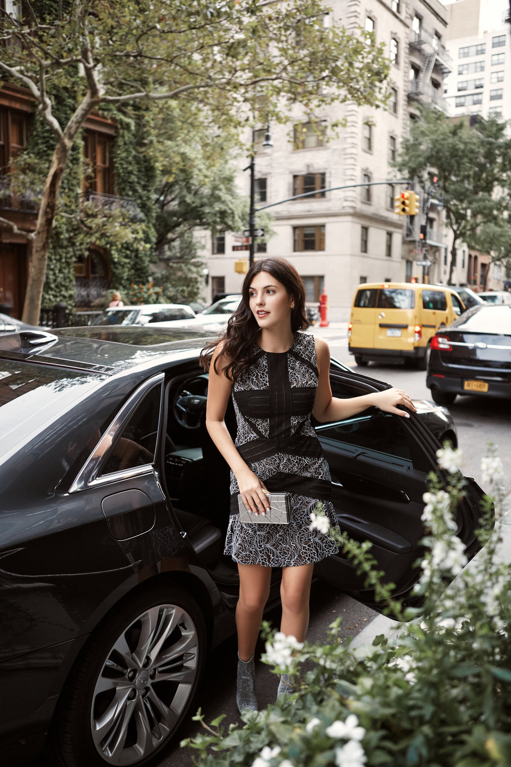 NYFW Recap #2 Julia Friedman wearing a BCBG black and white lace dress.