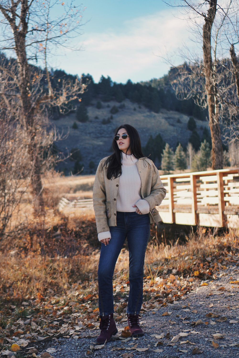 What Goes Around Comes Around Vintage Suede Fringe Jacket, Paige Denim Jeans, Timberland Velvet Boots | Montana Style Julia Friedman