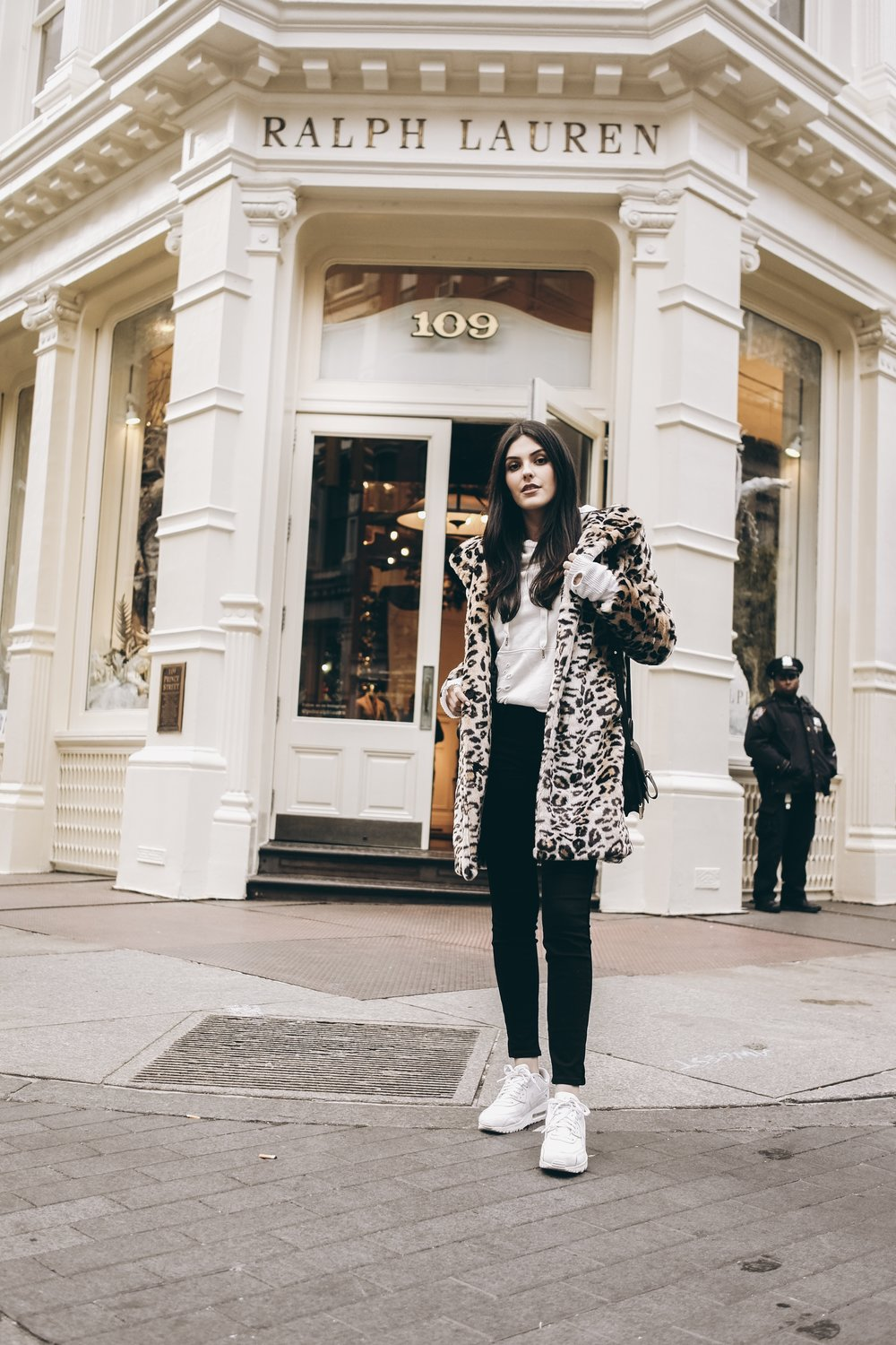 Leopard faux fur coat, nike air max, soho street | 3 Ways to Save Money While Traveling