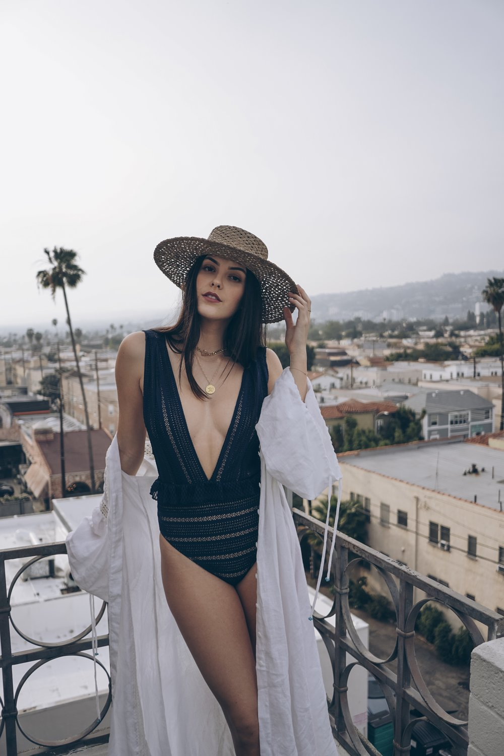 5 Must Visit Spots in Los Angeles by Julia Friedman wearing Nightcap Bardot Ruffled Lace One Piece.