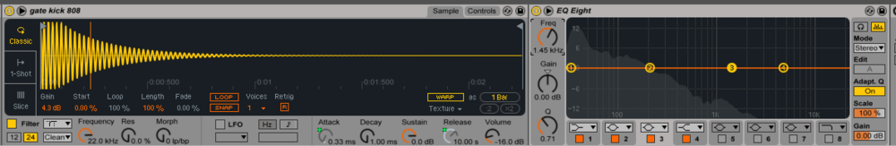 Kick drum in time and frequency domains