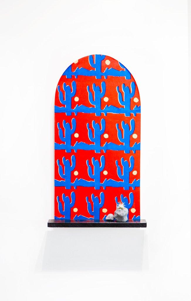 'it's hot outside', Jordan McQuaid, Silkscreen, enamel, wood, plasticine and cactus.