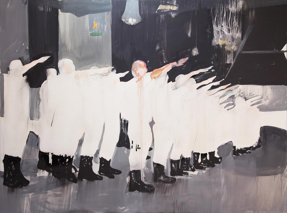 Police Graduation (Juarez) , 2014, acrylic on linen, 400 x 300 cm. Photo credit:  Kerlin Gallery