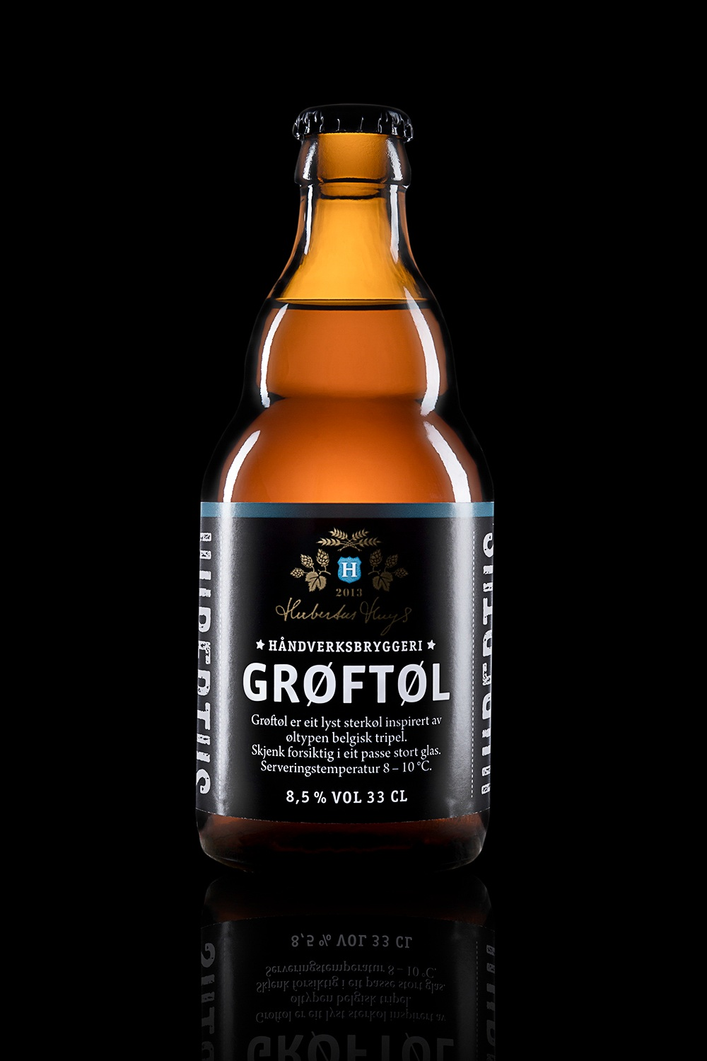 Grøftøl - Type: Belgian Tripel.Color: Light.Aroma: Fruity, rich and complex.Flavor: Fruity.Contents: Alcohol 8,5%.Food pairing: Cheese, tart desserts with berries and fruit, pork and chicken.Vinmonopolet