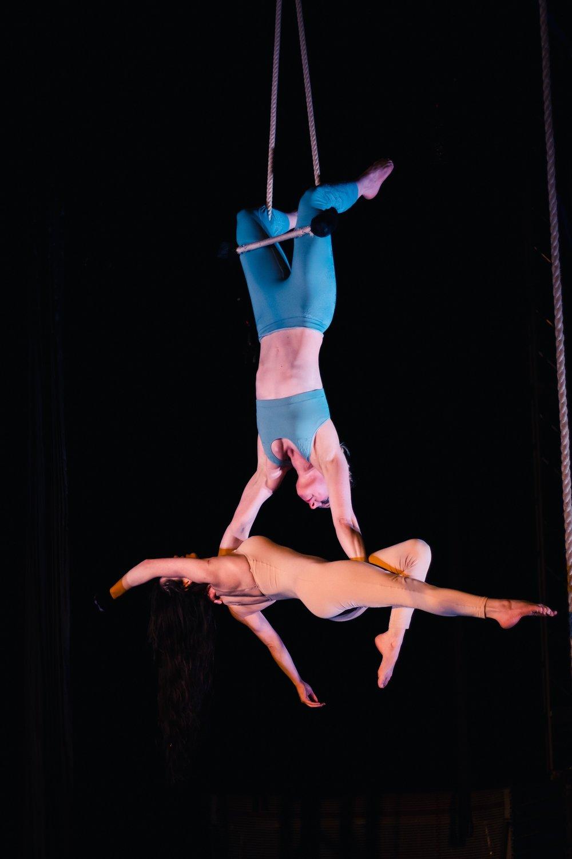 Lorna & Miriam on Doubles Trapeze  Photo by Richard Walker