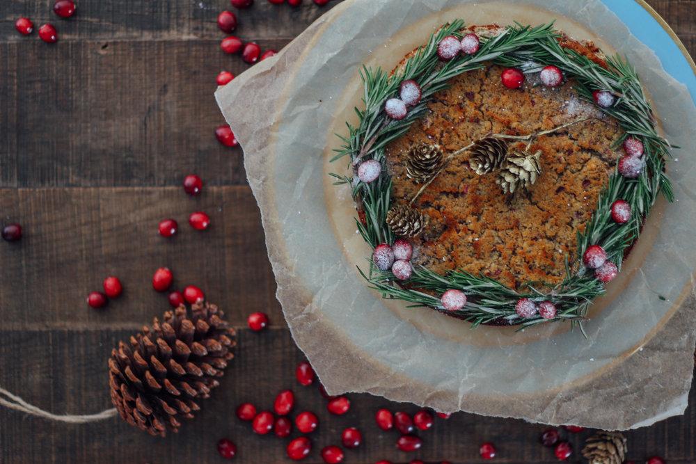 festive cake, gf & vegan