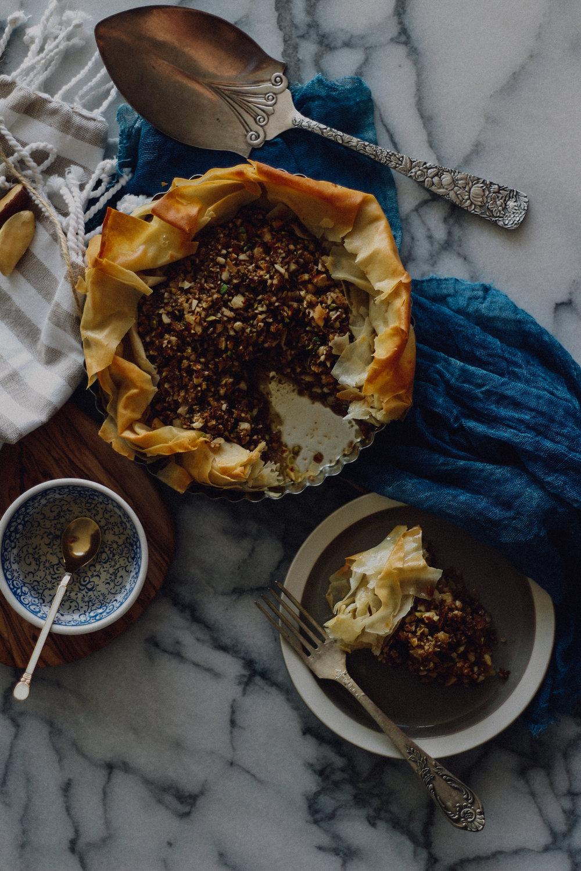 pistachio baklava tart