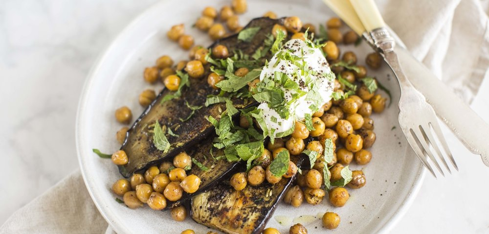 spiced eggplant & chickpeas