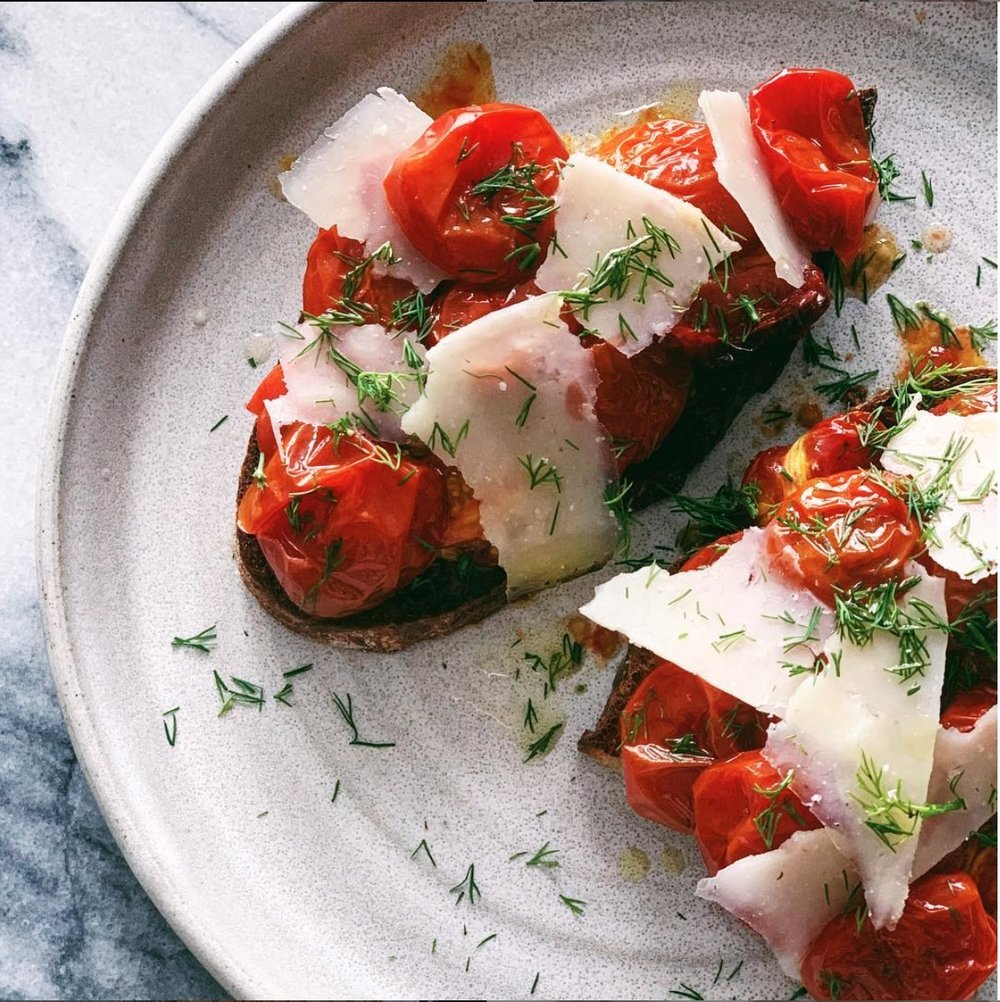 blistered cherry tomato toast
