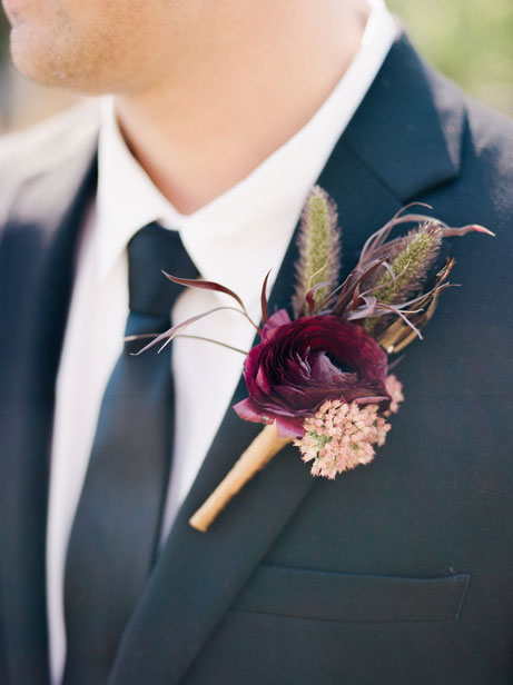 Maroon and Navy Boutonnière Florals
