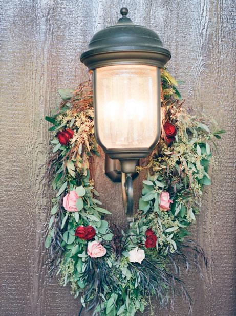 Lantern with Maroon Wreath Florals