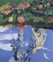 "Harriet Shorr,  Artifice , 2000. oil on canvas, 70 x 60"""