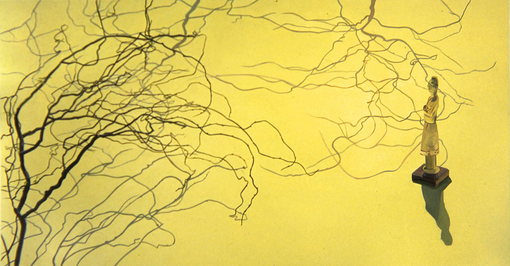 """Contemplating Curly Willow  oil on canas 70 x 135"""" 1991"""