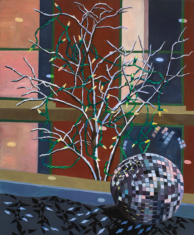 """Christmas Lights and Mirror Ball  oil on canvas 60 x 49"""" 2011"""