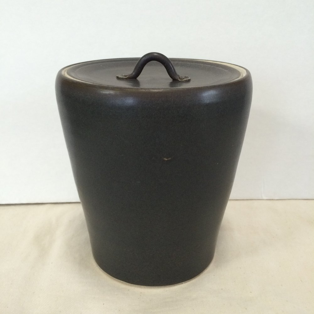 Mizusashi,water jar for Japanese tea ceremony - mid range stoneware, made on potter's wheel