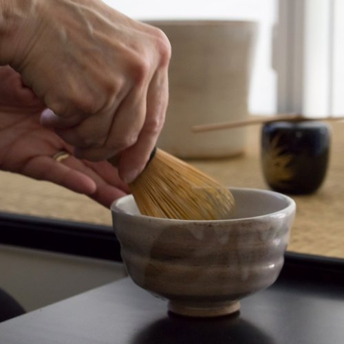 Workshop Part 2 - 2 hours - Linda will describe more about Chado, The Way of Tea. Participants will learn to whisk matcha tea for each other in the chawan that they made in Part 1. All tea, utensils, and Japanese confections will be provided.