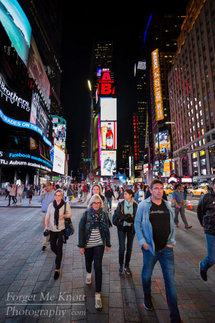 Streets of New York city times square people walking