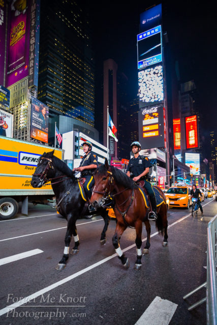 NYPD Mounties, New York city manhatten times square,pd police officer horses mounted lights