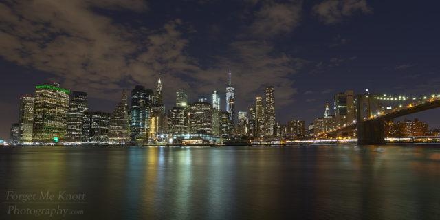 Manhattan Via Brooklyn new york city ridge,river reflection night